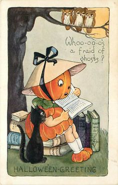 Halloween Whitney No WH24 1 JOL Girl Reading Books Tree Face Owls Black Cat | eBay