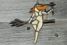 The Witches Sabbath Suncatcher - Witch Decor - Halloween Decoration - Small Stained Glass - Free the Nipple - Redhead Woman
