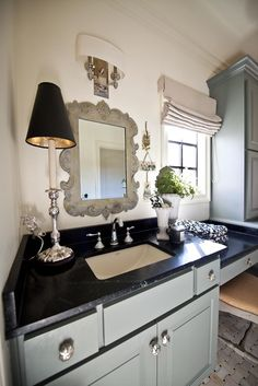 Small Lamps Kitchen Counters Luxury Three Bright Ideas for Lighting Your Home Nell Hills Shabby, Small Lamps, Home Decor Quotes, White Bathroom, Small Bathroom, Color Tile, Decorating Blogs, Powder Room, Bathroom Ideas
