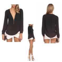 NEW!  Black V Neck Long Sleeve Blouse Black Blouse with Zip details...    Material: Polyester.     no pp/no trade. Whiteflower Tops Blouses