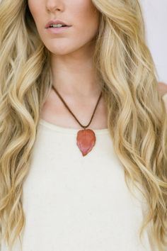 Vintage Leather Upcycled Necklace Boho Stone by ThreeBirdNest, $18.99