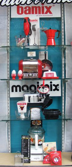 Bamix and Magimix display, for London and American Supply Stores, Melbourne. Display by Patricia Denis #patriciadartist #windowdisplay #visualmerchandising #kitchenware