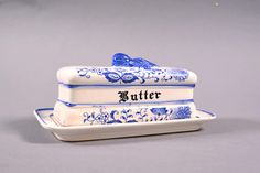 Vintage Blue Onion Butter Dish Blue and White Table Accessory