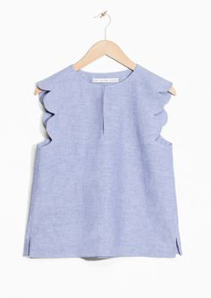 & Other Stories image 2 of Scalloped Linen-Chambray Blouse in Light Blue