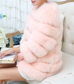 Queen Devin Faux Fur - (more colors) — Pink Plastic Fox Fur Coat, Pink Plastic, Blue Coats, Faux Fur, Winter Outfits, My Style, Cloths, Swag, Chanel