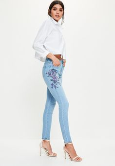 Missguided - Blue Sinner High Rise Purple Floral Skinny Jeans
