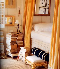 books as night stand - Stephen Shubel | Portfolio By Room - like the mannequin lamp