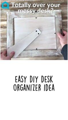Home Office Organization, Organizing Your Home, Easy Home Decor, Cheap Home Decor, Dyi, Easy Diy, Messy Desk, Dollar Tree Decor, Solar Energy Panels
