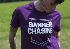 "The newest design in our #LifeOfAShowman t-shirt line (these t-shirts are suggested by our Twitter followers)!     Turquoise and purple t-shirts say ""BANNER CHASING"" on the front, and #LifeOfAShowman on the back. Add to your livestock tee collection!"