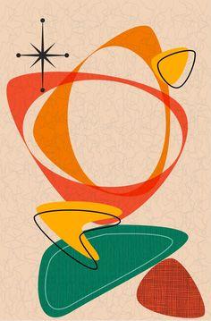Retro Kunst, Retro Art, Mid Century Art, Mid Century Modern Design, Mid Century Modern Colors, Danish Modern, Midcentury Modern, Vintage Modern, Reproductions Murales