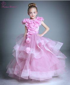 Pretty Girls Pageant Dress 2016 Spring Floral puffy Girls Dress with Handmade Flowers Scoop Floor-length Long Flower Girl Dress