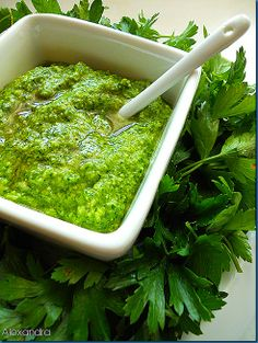 "Σάλτσα ""πέστο"" Marinade Sauce, Tapenade, Fish Tacos, Appetizer Dips, Different Recipes, Seaweed Salad, Food Photo, Guacamole, Pesto"