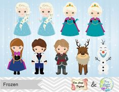 Digital Frozen Clip Art, Digital Disney Frozen Clipart, Snow Princess Clip Art - Elsa, Anna, Kristoff, Sven, Olaf and Prince Hans, 0177 by TracyDigitalDesign on Etsy https://www.etsy.com/listing/231257629/digital-frozen-clip-art-digital-disney