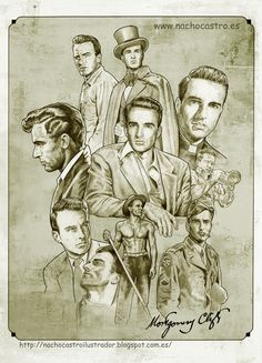 "Montgomery Clift, illustration from the book ""Hombres de Hollywood"".Nacho Castro.Diábolo ediciones"