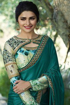 Prachi Desai Green Satin Silk Plain Saree With Designer Blouse. Not the typical saree. Prachi Desai Green Satin Silk Plain Saree With Designer Blouse. Not the typical saree.
