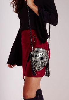Semi Precious Black Stone Detail Metal Shoulder Bag