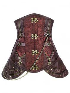 Walkingon Brown Gothic #Leather Waist Cincher Steel Boned #Steampunk #Corsets