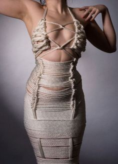 """Rope Dress  I've seen quite a few """"rope dresses""""  but this one is the most unique I have  ever come across.. Must take her a   couple hours to get ready to go out....."""