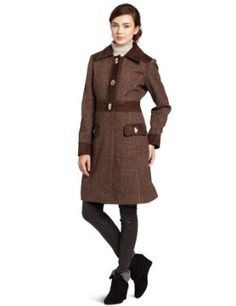 Jessica Simpson Women's Tweed Wool Single-Breasted Walker Length Coat, Brown/Pink Tweed, Large Jessica Simpson. $131.94