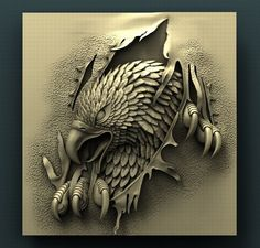 STL Model for CNC Router Eagle bas bas carved carved cnc cnc, formats STL, ready for animation and other projects 3d Cnc, Aztec Art, Modelos 3d, Wood Carving Patterns, 3d Prints, Cnc Router, Zbrush, Sculpture Art, Minions