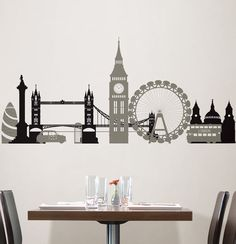 LONDON BRIDGE 27 Wall Stickers Mural City Buildings Room Decor SKYLINE Decal BR7  | eBay