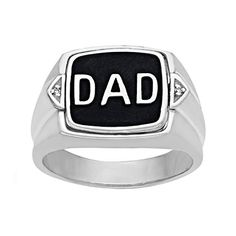 Round Cut Real Diamond DAD Ring 14K Gold Over Sterling Silver For Daddy Gift 1//10 Cttw