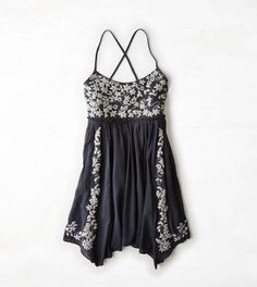 Washed Black AEO Embroidered Babydoll Dress
