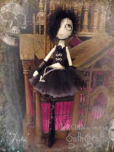 Jinx Urchin Art Doll by Vicki at Lilliput Loft