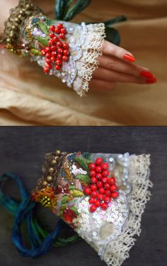 Rowan , baroque influenced romantic wrist wrap from antique linen and trims, romantic wearable art