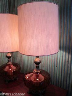 PR Mid Century Modern Amber Sofa Table Lamps Shades Vtg 60s Vtg Night Light   eBay