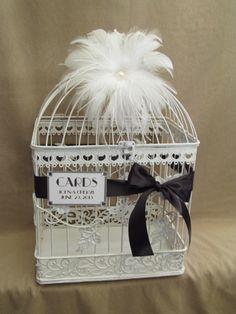 Art Deco Bird Cage Wedding Card Holder With White Feathers /  Card Box / Pearls / Rhinestone