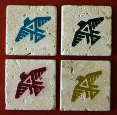 Anishinaabe (Odawa, Ojibwe, and Algonquin native peoples) emblem. Set of four 4x4 travertine marble drink coasters.