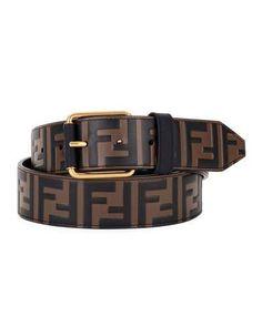 Chocolate Brown Leather Monogram Belt by Fendi Fashion Belts, Mens Fashion, Kpop Fashion, Fendi Belt, Mens Gucci Belt, Luxury Belts, Branded Belts, Designer Belts, Man Logo