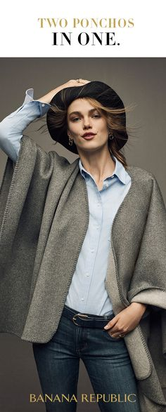 What's better than one perfect poncho to top everything from denim to a cocktail dress? Banana Republic's reversible poncho that does double-duty. The shape of the season is coolly ready for parties, weekends, or to chicly layer up against the chill. Shop Holiday 2016