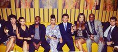 Kris Jenner, Kim Kardashian, Kanye West, Kourtney Kardashian, Scott Disick, Khloe Kardashian, Lamar Odom and Rob Kardashian.