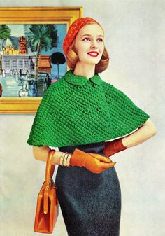 "I need a red capelet! Well, and matching hat. {Vintage 50s Knitted ""CAPELET"" Swing Jacket PDF Pattern CAPE}"