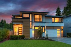 This Northwest house plan has Contemporary and Prairie influences that give it a special appeal.The big, open layout is a real pleasure to live in, with wonderful views from room to room.Two sets of sliding glass doors take you out to the rear covered patio.Pocket doors in the kitchen open up to reveal a huge walk-in pantry that even has windows.The den at the back of the house could be used as an extra bedroom since it has a walk-in closet and nearby bathroom.Upstairs, four big bedrooms are…