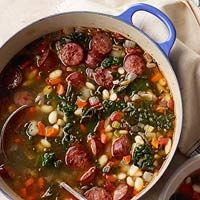 Sausage and White Bean Stew with Kale...no need to cook kale ahead of time. just add it to the stew to cook.