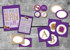 Peanut Butter and Jelly Printable Party Collection INSTANT DOWNLOAD Printables by ItsyBelle aTwins Birthday Party