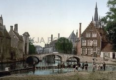 bridge in belgium | Posters - Convent bridge and the spire of Notre Dame Bruges Belgium ...