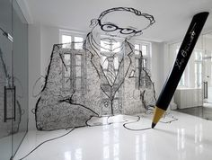 Singapore designers Ministry of Design have completed an office interior for an advertising agency that features a drawing of the company's founder spread across the walls and floor, wielding a scaled-up model of a pencil.  In the Space to Impress, visitors and guests exiting the lift into the entry foyer are immediately confronted with a larger than life 'graffiti' style portrait of Leo, an over-3-metre high mural painted on the floor, walls, windows and ceiling of the main entry foyer