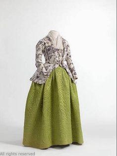 Caraco and petticoat, 1750-80. Mode Museum.