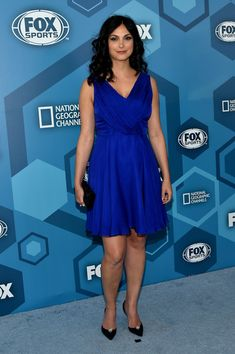 Morena Baccarin Cocktail Dress - Morena Baccarin was prom-chic in a floaty blue cocktail dress while attending the Fox 2016 Upfront.