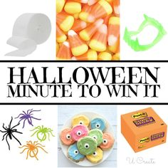 Halloween Minute To Win It Games using vampire teeth, spider rings and more! halloween games Halloween Minute To Win It Games - U Create Casa Halloween, Halloween Class Party, Halloween Birthday, Halloween Activities, Holidays Halloween, Halloween Kids, Halloween Crafts, Kindergarten Halloween Party, Halloween Camping