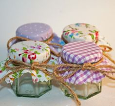 Mini Jam Jar Favours Do it Yourself Favours in Lilac / Lavender Cottage Chic. £1.15, via Etsy.