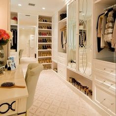 This bright walk-in is luxe! #InsideTopShelf #Inspirations #Walkincloset #Fashion