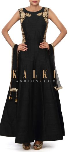 Buy Online from the link below. We ship worldwide (Free Shipping over US$100) Price- $249 Click Anywhere to Tag http://www.kalkifashion.com/black-anarkali-suit-embellished-in-zardosi-and-kundan-embroidery-only-on-kalki.html