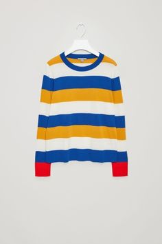 COS image 2 of Fine-knitted cotton jumper in Blue