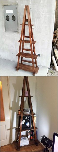 A much simple and plain form of the ladder shelf design has been set aside in this wood pallet designing that is purposely used for your decoration settlement purposes. Being light in weight you can make it place in any corner place of the house. It comprises shelves in various divisions.