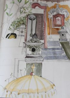 Clare Haxby   Bali sketchbook  the stairs at Majestic Villa Bali